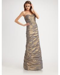 Teri Jon - Metallic Ruched Taffeta Strapless Gown - Lyst