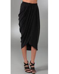 Thakoon Addition | Black Draped Silk Wrap-effect Midi Skirt | Lyst