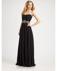 THEIA | Black Medallion Beaded Strapless Gown | Lyst