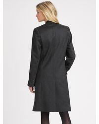 Theory - Gray Double-breasted Stretch Wool Coat - Lyst