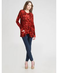 TSE | Red Cashmere Water Floral Cardigan | Lyst