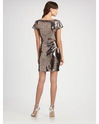 Vicky Tiel - Metallic Leopard Sequin Short Sleeve Dress - Lyst