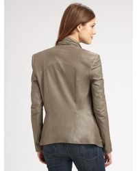 Vince - Gray Draped Leather Jacket - Lyst