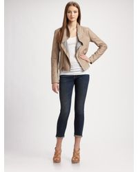 VINCE | Natural Asymmetric-zip Leather Jacket | Lyst