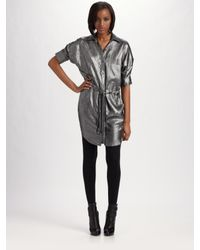 BCBGMAXAZRIA | Crinkled Metallic Shirt Dress | Lyst