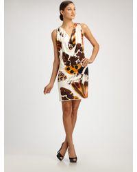 Blumarine | Brown Silk Jersey Butterfly Dress | Lyst