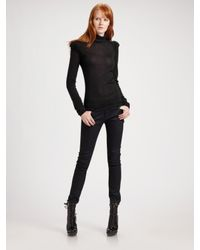 Burberry | Black Twist Shoulder Turtleneck Sweater | Lyst