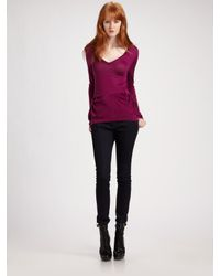 Burberry | Purple Peplum V-neck Sweater | Lyst