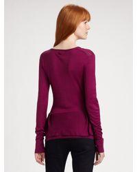 Burberry - Purple Peplum V-neck Sweater - Lyst