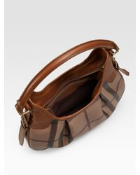 Burberry - Brown Checked Hobo - Lyst