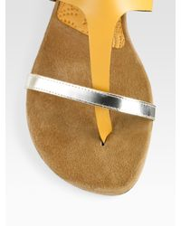 Chie Mihara | Natural Two-tone T-strap Sandals | Lyst
