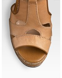 Chloé - Brown T-strap Platform Cork Wedge Sandals - Lyst