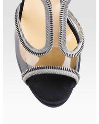 Christian Louboutin - Black Ziparent T-strap Double-platform Pvc Sandals - Lyst