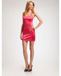 Dolce & Gabbana | Pink Stretch Satin Mini Dress | Lyst
