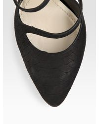 Dior - Black Double Tour Snake-embossed Leather Pumps - Lyst