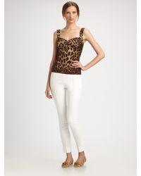 Dolce & Gabbana | Brown Leopard Silk Charmeuse Top | Lyst