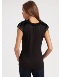 Elie Tahari - Black Feather and Ruffle Top - Lyst