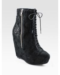 Elizabeth and James | Black Lace-up Wedge Ankle Boots | Lyst