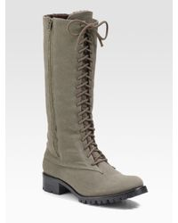 Elizabeth and James   Green Tall Canvas Boots   Lyst