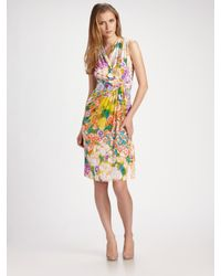 Etro | White Floral Jersey Sleeveless Dress | Lyst