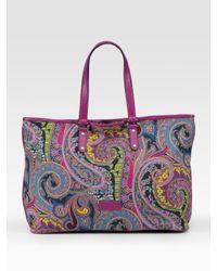 Etro | Multicolor Paisley-print Canvas Tote | Lyst