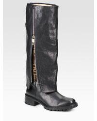 Fendi - Black Leather Zucca Detail Cuffed Tall Boots - Lyst
