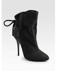 Giuseppe Zanotti | Black Python-print Drawstring Ankle Boots | Lyst