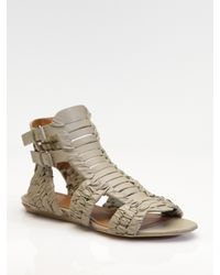 Givenchy - Gray Virginia Woven Leather Sandals - Lyst