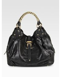 Halston | Black Brandy Braided Handle Satchel | Lyst