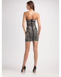 Hervé Léger   Black Strapless Jacquard Mini Dress   Lyst