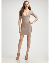 Hervé Léger | Natural Jacquard Paneled Bandage Dress | Lyst