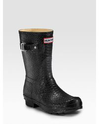 HUNTER | Black Boa Short Rain Boots | Lyst
