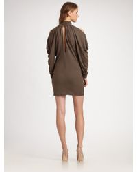 Improvd - Brown Cut-out Turtleneck Dress - Lyst