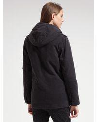 IRO - Black Hooded Coat - Lyst
