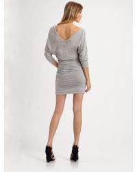 James Perse | Gray Deep V-neck Dress | Lyst