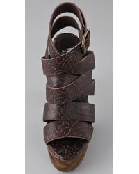 Jeffrey Campbell - Brown Ric Tooled Leather Sandals - Lyst
