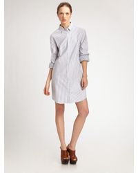 Jil Sander | White Stripe Cotton Shirtdress | Lyst
