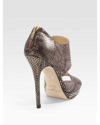 Jimmy Choo | Private Metallic Snake-embossed Leather Sandals | Lyst