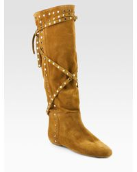 Jimmy Choo | Yellow Walk Wrap-around Strap Suede Flat Boots | Lyst