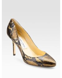Jimmy Choo | Lewis Metallic Snake-print Leather Pumps | Lyst