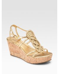 kate spade new york | Beachy Metallic Leather Wedge Sandals | Lyst