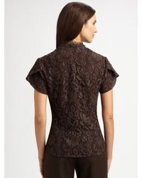 Lafayette 148 New York - Brown Ruffled Lace Blouse - Lyst
