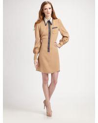 Marc Jacobs | Brown Silk Puff Sleeve Shirt Dress | Lyst