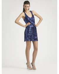 Badgley Mischka | Blue Sleeveless Sequined Mini Dress | Lyst