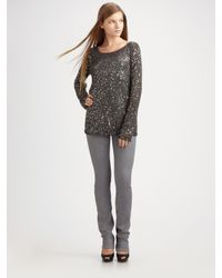 MICHAEL Michael Kors | Gray Lightweight Sequined Sweater | Lyst