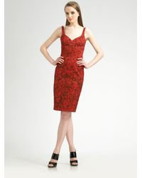 Michael Kors | Red Sleeveless Rose-print Dress | Lyst