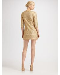 MILLY - Metallic Lace Shift Dress - Lyst