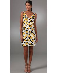 MILLY | Yellow Liz Floral Print Dress | Lyst