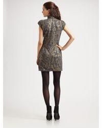Nanette Lepore Gray Foiled Again Floral Brocade Turtleneck Dress