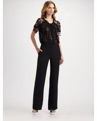 Oscar de la Renta | Black Lace & Chiffon Short Sleeve Blouse | Lyst